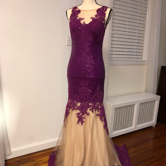 Dave & Johnny Dresses & Skirts - Purple Sequin Lace Dress (Dave & Johnny)